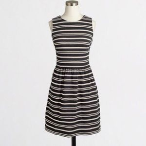 j. crew factory pleated striped sleeveless dress